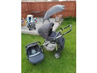 silver cross pram/ buggy with matching car seat