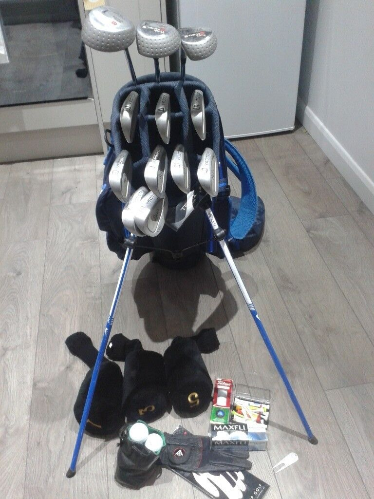 FULL SET RYDER GOLF CLUBS + NIKE GOLF BAG + TITLEIST & MAXFLI GOLF BALLS + NEW DUNLOP GLOVE + EXTRAS