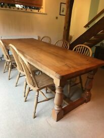 Solid Oak Dining Table, seats 10
