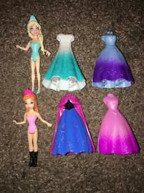 Like New - Hardly Been Played With - Magic Clip Elsa & Anna Dolls Playset
