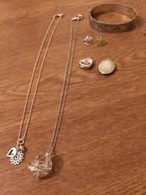 Swarovski necklace, diamond earrings, heart locket and cuff bracelet joblot.