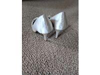 Bride or bridesmaid shoes ivory satin low heel