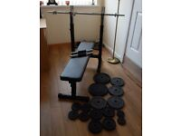Gorilla Sports Weights Bench, Barbell, Dumbbells and Plates