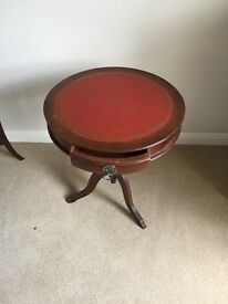 Round side table with leather top