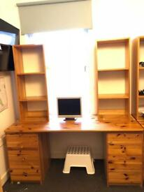 Real Wood Desk and Book Shelf