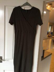 Khaki maternity midi dress