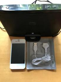 iPhone 4, white unlocked 8gb, Iwantit Iph1112 speaker dock, cable