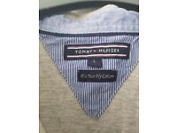 Mens grey Tommy Hilfiger polo top size L