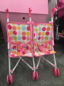 2 x girls dolls pushchairs