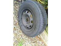 vw steel wheel + part worn tyre , audi / seat / skoda