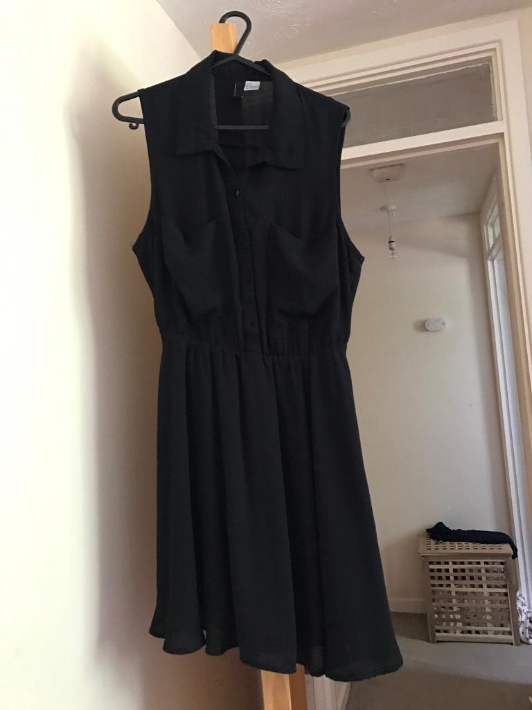 Ladies size 10 black chiffon dress