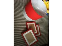 Lamp shade, 3 picture frames