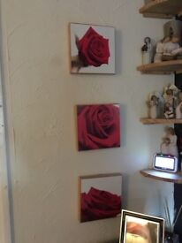 3 wooden flower pictures