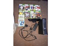 xbox 360 -without pads, plus 9 games and kinect