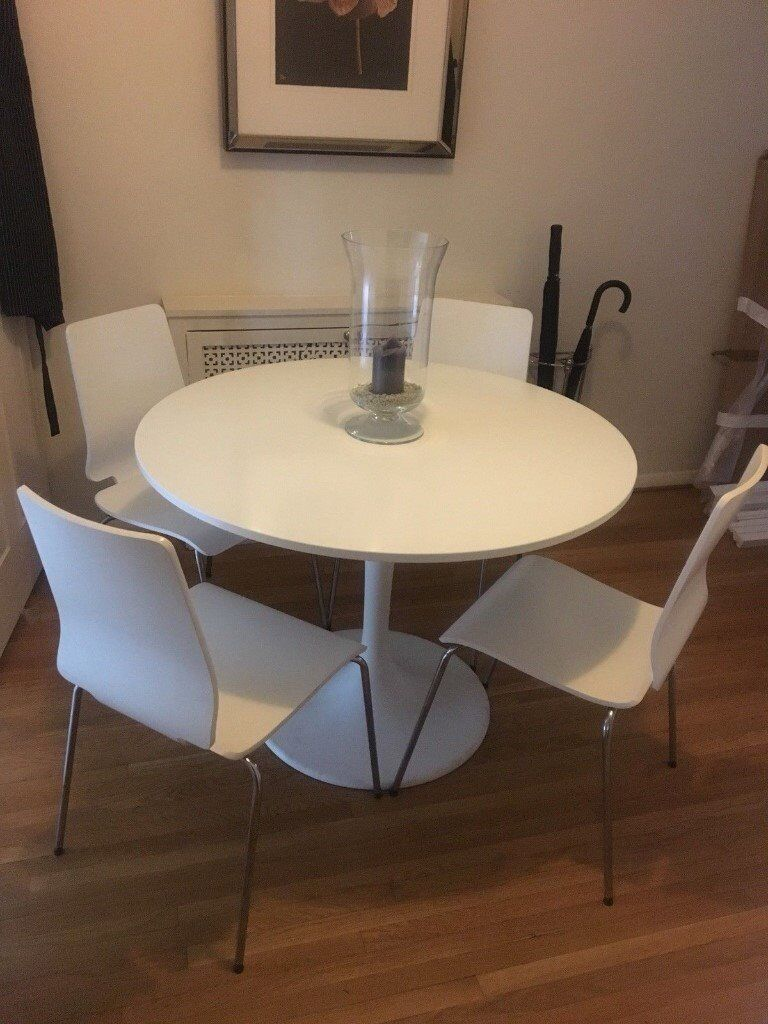 Ikea White Round Table With 4 Chairs In Wimbledon