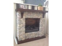 Beautiful handcrafted decorative stone and solid wood fireplace - like NEW