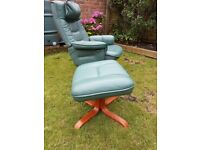 Mobel team(sweden) green leather swivel chair and foot stool