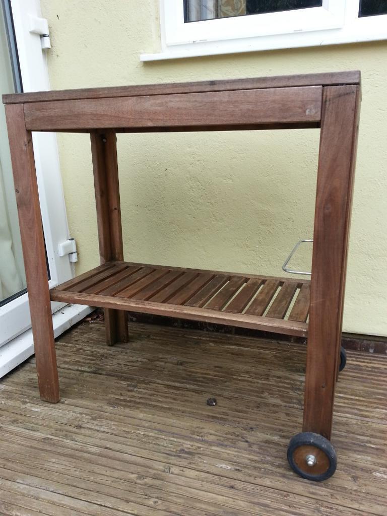 Ikea applaro garden bbq trolley table shelf 20 in for Ikea garden shelf