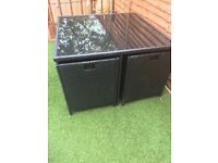 Rattan 4 seater cube table