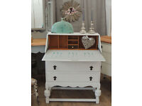 Lovely Shabby chic oak bureau with three drawers by Eclectivo- Annie Sloan