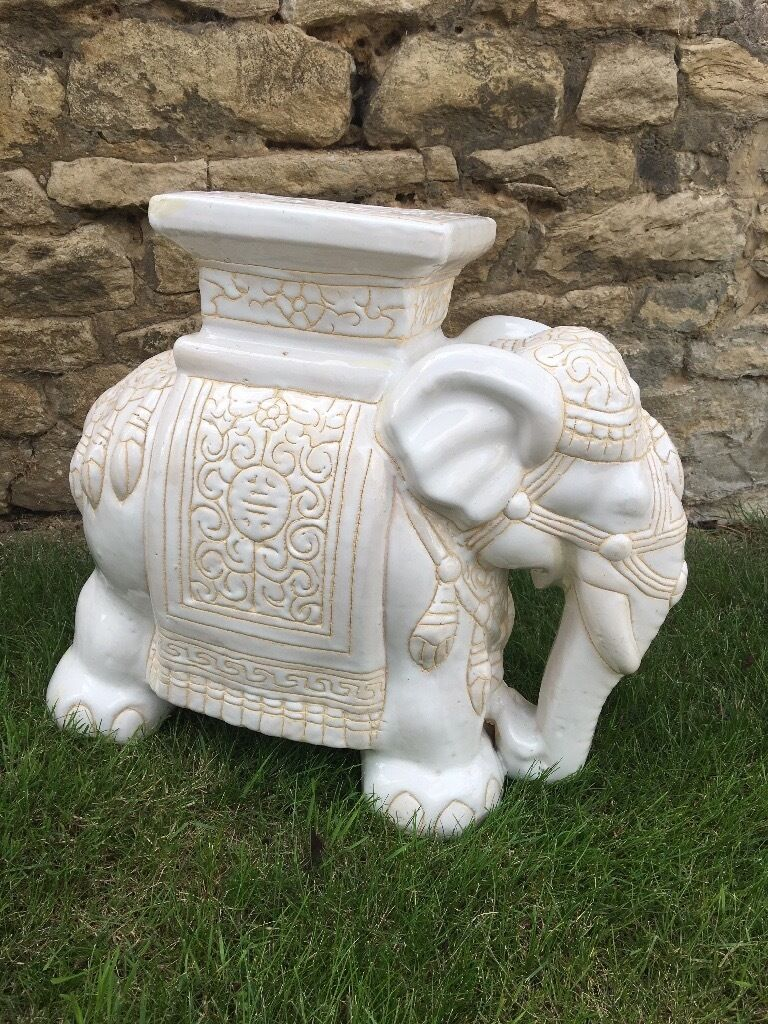 Heavy Ceramic Elephant Plant Stand In Bicester