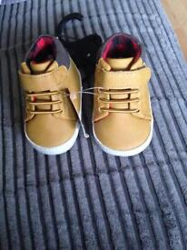 Baby boys shoes 0-6 months and 3-6months blue slip ons and tan Velcro shoes