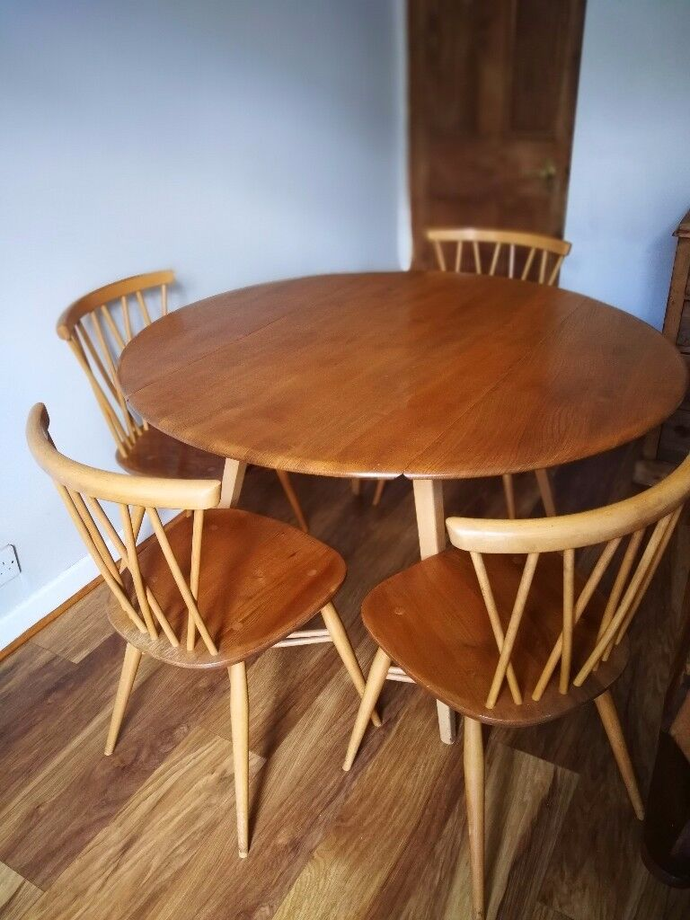 ***SOLD****Vntage Ercol Dining Table and 4 matching Ercol ...