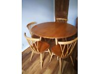 Vintage Ercol Dining Table and 4 matching Ercol Chiltern Candlestick chairs