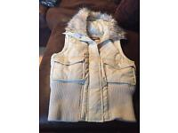 Cream gilet with fur hood size 10