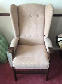 Upright fireside chair