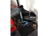 Boots pick ax crampons