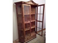 FRENCH STYLE LARGE PINE DISPLAY CABINET / BOOKCASE WITH ADJUSTABLE SHELF'S AND STORAGE DRAWER