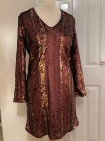 Marks And Spencer Ladies Size 16 Bronze Sequinned Dress