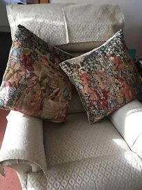 2 vintage look tapestry cushions