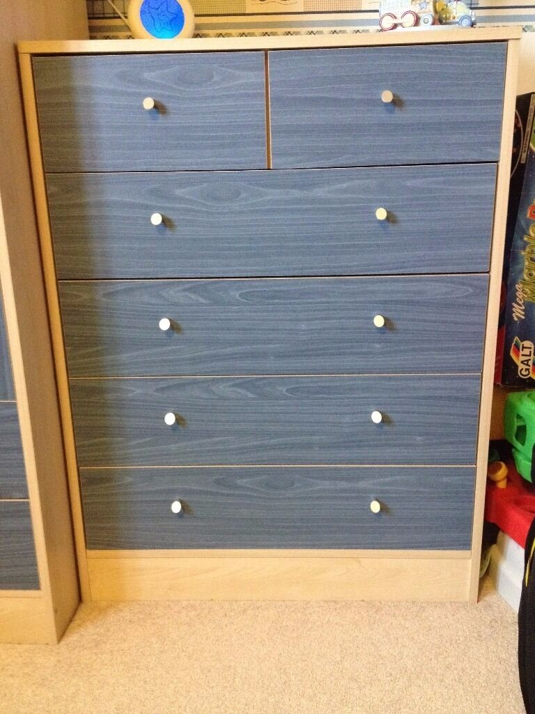 Kids 5 Drawer Chest Of Drawers Argos Malibu Pine And Blue Good Condition
