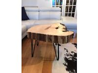 Coffee Table Wood Slab Live Bark Edge Hairpin Legs