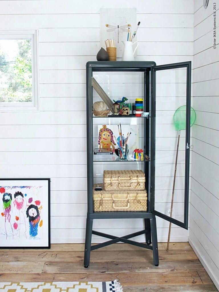 brand new ikea fabrik r glass display cabinet with lights unassembled rrp 150 in hove. Black Bedroom Furniture Sets. Home Design Ideas