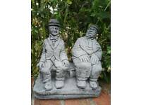 SMALL LAUREL AND HARDY STONE ORNAMENT GARDEN