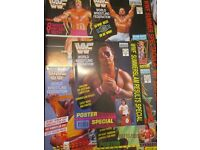 RARE WWE / WWF WRESTLING SPORTING SUPER STARS POSTER MAGAZINES X 21 other wrestling stuff for sale