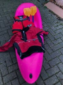 Sit on top Kayak, with paddle, buoyancy aid & overhead cag