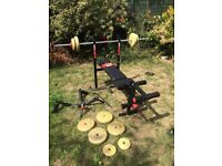 York weight bench, weight lifting bar and weights