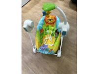 Fisher Price baby swing,music & vibrations, battery operated, used, great condition, washable covers