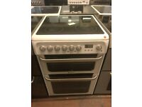 60CM WHITE HOTPOINT ELECTRIC COOKER DOUBLE OVEN