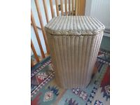 LLOYD LOOM VINTAGE LAUNDRY BASKET-Gold. 1930's