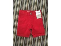 Red shorts 1.5 - 2 years old brand new with tags