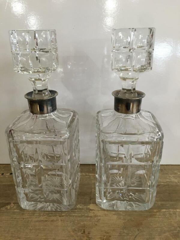 Pair Gebruder Deyhle Crystal Decanters 835 Sterling Neck Hallmarked Art Deco