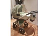 Unique faux leather 2in1 pram pushchair carrycot