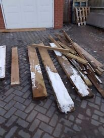 """10 pcs Wood for Roof etc 10ft x 6"""" x 3"""" Cheap to clear"""