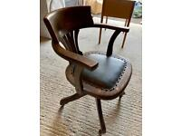 Antique 1930s Hillcrest oak and leather swivel chair