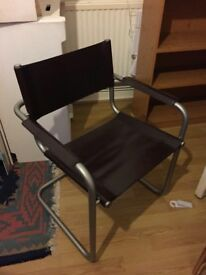 Habitat Hamilton Brown Leather and Matte Metal Frame Cantilever Martin Stam Bauhaus Style Chair
